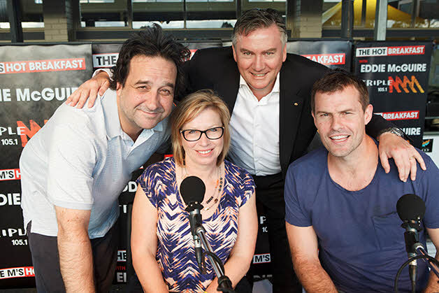 Rosie Batty with Mick Molloy, Eddie McGuire and Luke Darcy. Community Day
